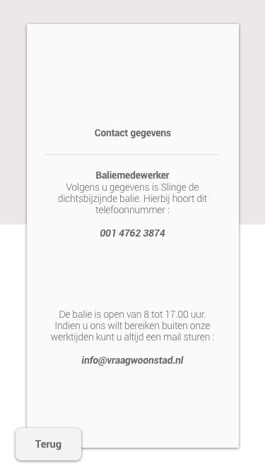 Contact gegevens woonstad - baliemedewerker